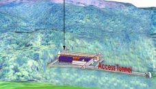 Schematic view of the Underground neutrino lab under a mountain